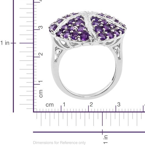 Amethyst 3.50 Ct Silver Star Fish Ring in Platinum Overlay