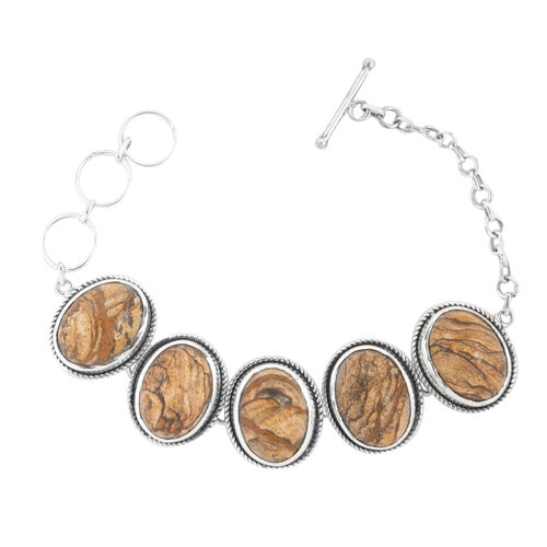 Jewels of India Picture Jasper (Ovl) Bracelet in Sterling Silver (Size 7.5) 44.520 Ct.