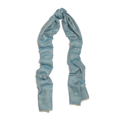 100% Cashmere Wool Dark Aqua and Blue Colour Shawl (Size 200x70 Cm)