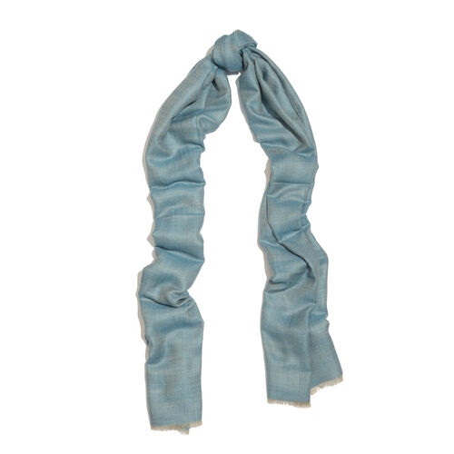 100% Cashmere Wool Dark Aqua and Blue Colour Shawl (Size 200x70 Cm)