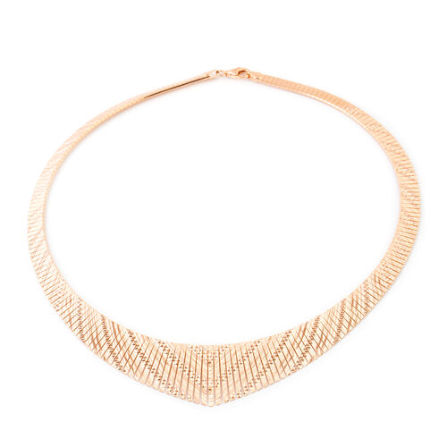 Rose Gold Overlay Sterling Silver Cleopatra Necklace (Size 17), Silver wt 29.40 Gms.