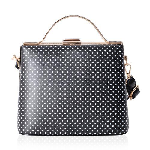 Boutique Collection Vintage Style Polka Dot Black Colour Handbag with Removable Shoulder Strap (Size 22x18x14 Cm)