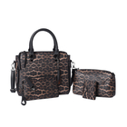 4 Piece Set - Chocolate Leopard Pattern Tote Bag, Crossbody Bag, Clutch Bag and Card Bag with Tassel