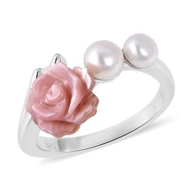 Jardin Collection - Pink Mother of Pearl and Freshwater Pearl Ring in Rhodium Overlay Sterling Silve