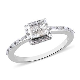 Diamond Ring in Platinum Overlay Sterling Silver 0.25 Ct.