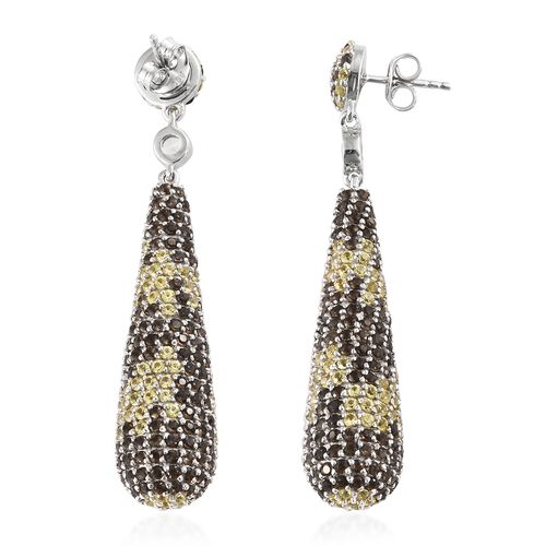Brazilian Smoky Quartz (Rnd),Yellow Sapphire and Natural White Cambodian Zircon Dangle Earrings (with Push Back) in Platinum Overlay Sterling Silver 10.750 Ct, Silver wt 13.95 Gms.