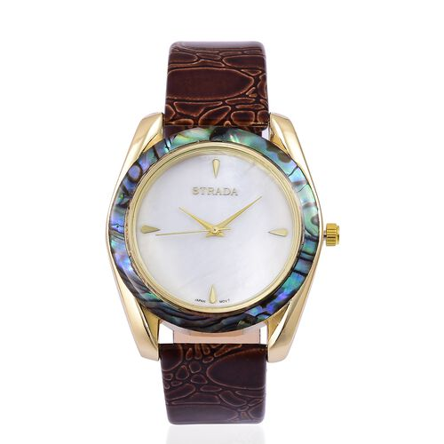 STRADA Japanese Movement MOP Dial with Abalone Shell Bezel Water Resistant Watch in Yellow Gold Tone with Stainless Steel Back and Chocolate Colour Strap