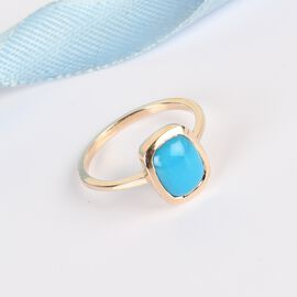 9K Yellow Gold Arizona Sleeping Beauty Turquoise Solitaire Ring 2.02 Ct.