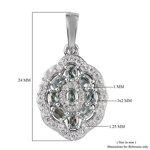 Narsipatnam Alexandrite and Natural Cambodian Zircon Pendant in Platinum Overlay Sterling Silver 1.00 Ct.