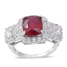 9.35 Ct African Ruby and Topaz Cluster Ring in Rhodium Plated Silver 5.53 Grams