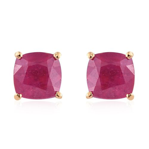 African Ruby (Cush) Stud Earrings (with Push Back) in 14K Gold Overlay Sterling Silver 2.28 Ct.