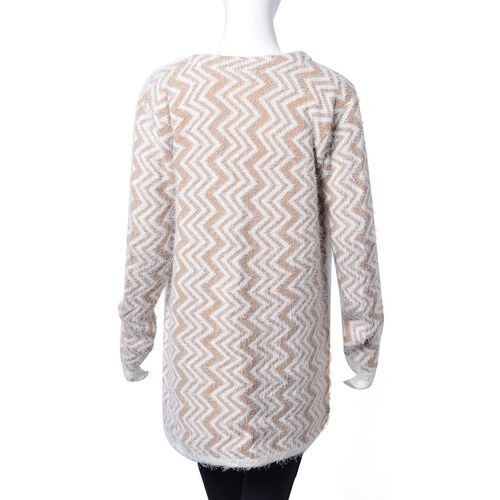 Italian Designer Inspired- Khaki and White Colour Vertical Zigzag Pattern Apparel with Pockets (Size 80X52 Cm)