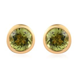 Hebei Peridot Stud Earrings (with Push Back) in 14K Gold Overlay Sterling Silver 1.39 Ct.