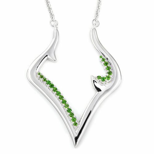 LUCY Q Russian Diopside V Necklace in Rhodium Plated Sterling Silver 12.98 Grams