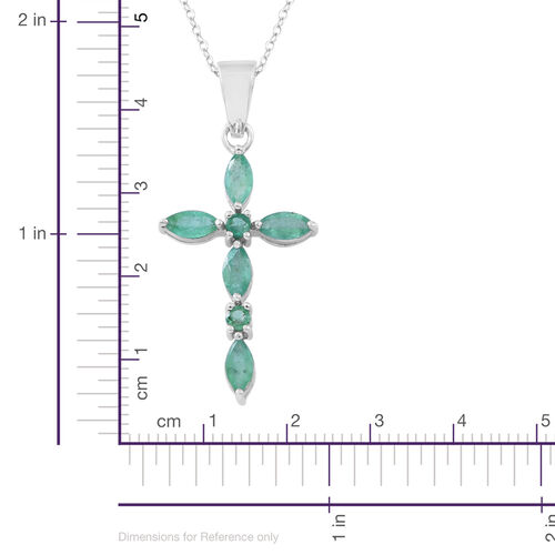 Kagem Zambian Emerald (Mrq) Cross Pendant with Chain in Rhodium Plated Sterling Silver 2.000 Ct.