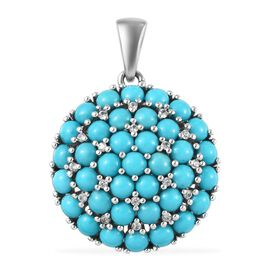 9.56 Ct Arizona Sleeping Beauty Turquoise and Zircon Cluster Pendant in Platinum Plated Silver