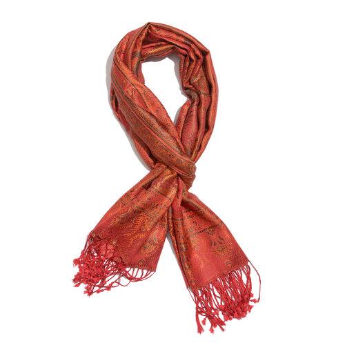 SILK MARK- 100% Superfine Silk Orange, Pink and Multi Colour Jacquard Jamawar Scarf with Fringes (Si