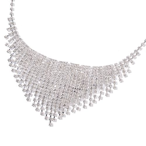 White Austrian Crystal Necklace (Size 16 with 6 Inch Extender) and Earrings (with Push Back) in Silver Tone