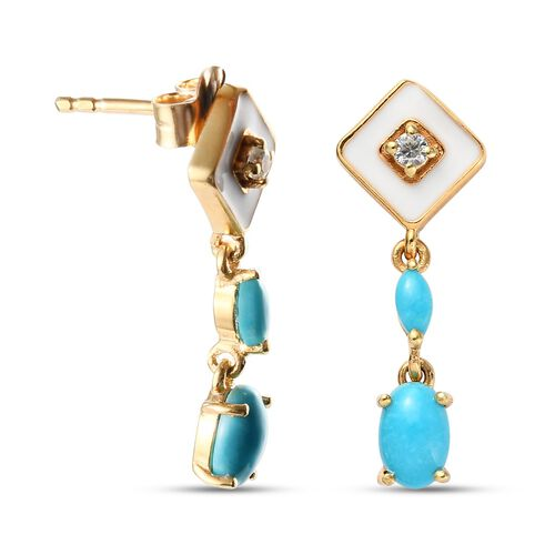 AA Arizona Sleeping Beauty Turquoise and Natural Cambodian Zircon Dangling Earrings (with Push Back) in 14K Gold Overlay Sterling Silver 1.07 Ct.