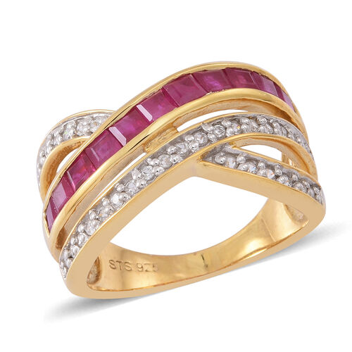 Burmese Ruby (Sqr), White Zircon Criss Cross Ring in 14K Gold Overlay Sterling Silver 2.000 Ct.