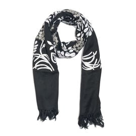 100% Merino Wool Black and White Colour Floral and Leaves Embroidered Shawl (Size 170X70 Cm)