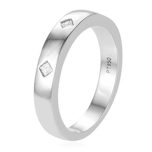 RHAPSODY 950 Platinum IGI CERTIFIED Diamond (Sqr) (VS / E-F) Band Ring 0.150 Ct. Platinum wt. 5.50 Grams