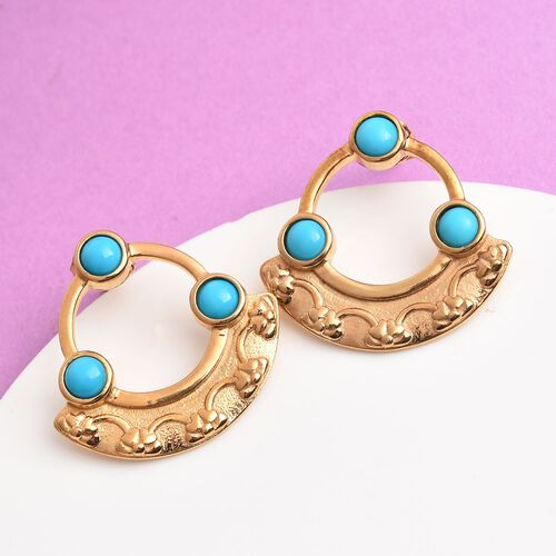 Arizona Sleeping Beauty Turquoise Earrings (with Push Back) in 14K Gold Overlay Sterling Silver 1.50 Ct, Silver wt 6.75 Gms
