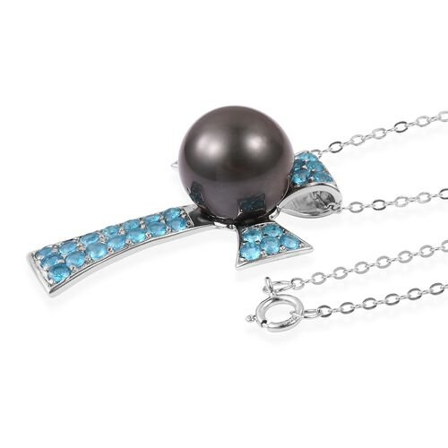 Tahitian Pearl (Rnd 12-13 mm), Malgache Neon Apatite Cross Pendant with Chain in Rhodium Plated Sterling Silver 14.730 Ct.