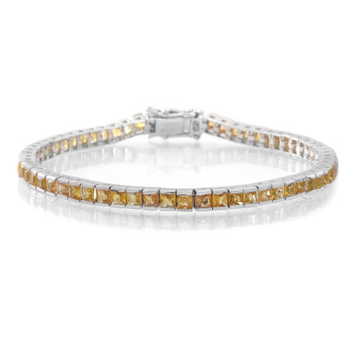 AAA Yellow Sapphire (Sqr) Tennis Bracelet (Size 7.5) in Rhodium Plated Sterling Silver 9.000 Ct.