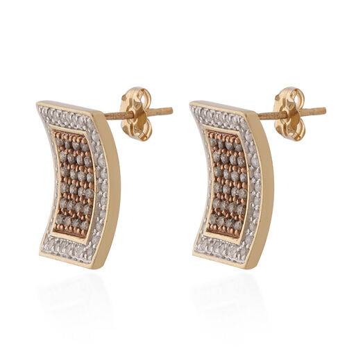 9K Yellow Gold Champagne Diamond and Natural White Diamond Earrings (with Push Back) 1.02 ct,  Gold Wt. 3.00 Gms