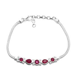 3.78 Ct African Ruby Hand Made Bracelet in Silver 8.90 Grams 7 With 1.5 Inch Extender
