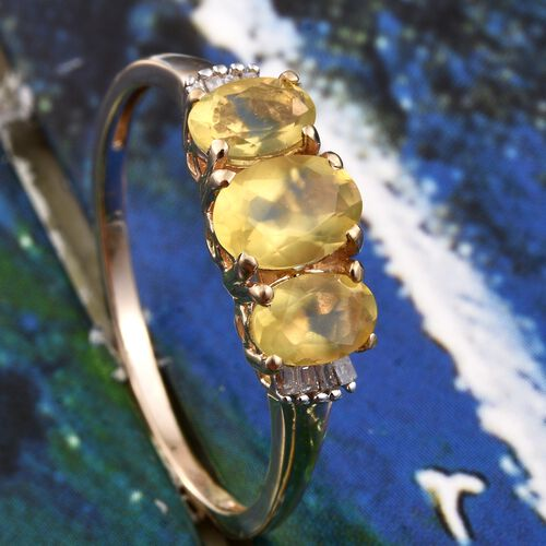 9K Y Gold Natural Canary Opal (Ovl 0.60 Ct), Diamond Ring 1.250 Ct.