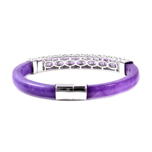 Purple Jade and Amethyst Bangle (Size 7.5) in Rhodium Overlay Sterling Silver 87.00 Ct, Silver wt 16.00 Gms