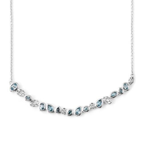 RACHEL GALLEY Misto Collection - Ratnakiri Blue Zircon Necklace (Size 20) in Rhodium Overlay Sterlin