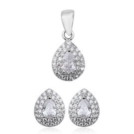 2 Piece Set ELANZA Simulated Diamond (Pear) Earrings and Pendant in Rhodium Overlay Sterling Silver