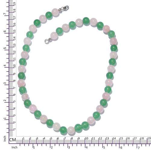 Green Aventurine, Rose Quartz Ball Necklace (Size 20) in Platinum Overlay Sterling Silver 284.800 Ct.