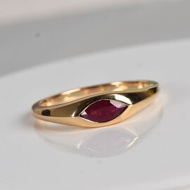 ILIANA 18K Yellow Gold AAA Burmese Ruby Solitaire Ring 0.60 Ct.