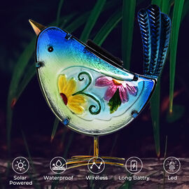 Garden decor bird-blue material:glass+iron weight:471g size:22X10X22cm
