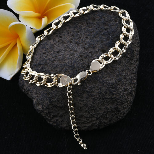 Royal Bali Collection 9K Yellow Gold Double Curb Bracelet (Size 7.5 with 1.5 inch Extender), Gold wt 5.42 Gms.