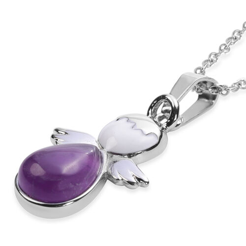 Amethyst Little Angel Enamelled Pendant with Chain (Size 20) in Stainless Steel 3.50 Ct.