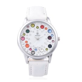 STRADA Japanese Movement Water Resistant Multi Colour Austrian Crystal Studded Watch with White Stra