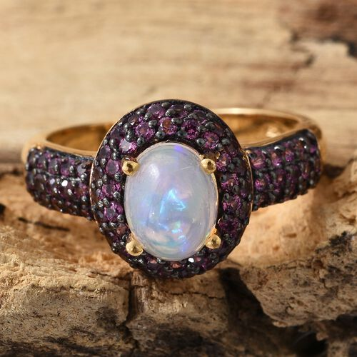 Ethiopian Welo Opal (Ovl), Rhodolite Garnet Ring in Black and 14K Gold Overlay Sterling Silver 2.750 Ct.