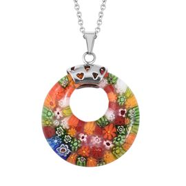 Murano Style Glass Pendant With Chain (Size 20) in Stainless Steel