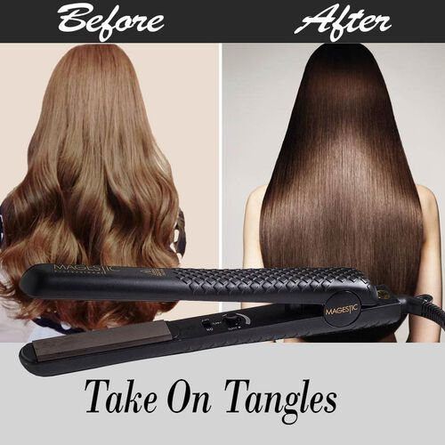 Magestic: Ceramic Hair Straightener (Size 27x3cm) - Black - 1.25in