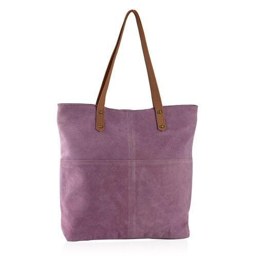 100% Genuine Leather RFID Blocker Lilac Purple Extra Large Tote Handbag (Size 40X36X10 Cm)