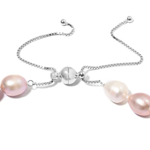 Fresh Water Pearl  Multi Colour Beads Adjustable Necklace (Size 18 to 24) in Rhodium Overlay Sterling Silver.