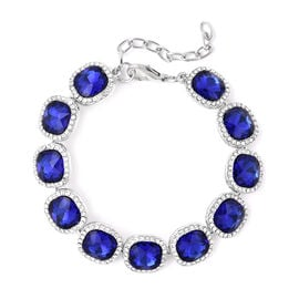Simulated Sapphire, White Austrian Crystal Bracelet (Size 7 with 2 inch Extender) in Silver Tone
