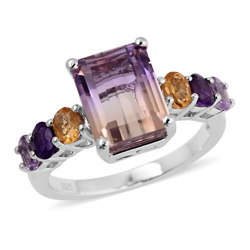 Natural Anahi Ametrine (Oct 4.50 Ct), Amethyst, Citrine and Pink Amethyst Ring in Rhodium Overlay St