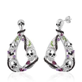 Halloween Collection- Boi Ploi Black Spinel (Pear) Earrings ( With Push Back) in Rhodium Overlay With Enameled Sterling Silver 3.740  Ct, Silver wt 23.35 Gms, Number of Gemstone 102