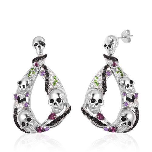 Halloween Collection- Boi Ploi Black Spinel (Pear) Earrings ( With Push Back) in Rhodium Overlay With Enameled Sterling Silver 3.740  Ct, Silver wt: 23.35 Gms, Number of Gemstone 102